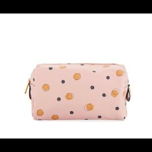 Saffiano faux leather Blush dot cosmetic bag